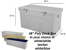 "48"" Poly Boat Dock Deck Pool Outdoor Patio Storage Box"