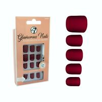 W7 Glamorous Nails Stick On Nails Garnet Coral False Fake Red Square Burgundy