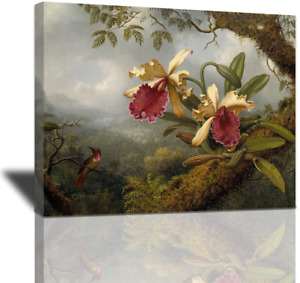 Rustic Hummingbird and Orchid Canvas Wall Art, Birds Forest Flowers Oil Painting