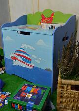 Coffre Jouets Siege Garcon Bateau Avion Bleu Chambre Enfant Meuble Panneau