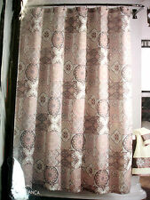 NIP-J. Queen New York Fabric Shower Curtain-Casablanca- Mauve Beige Grey
