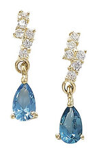 Topaz 9 Carat Yellow Gold Fine Earrings
