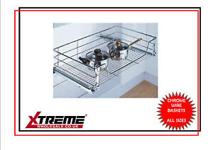 Kitchen Chrome Wire Basket to suit 450mm, Pull Out Storage Bedroom Wardrobe