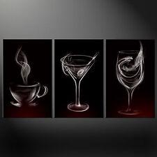 Humo bebidas Gafas Cocina Diseño Lona impresión de imágenes de arte de pared Gratis Reino Unido Envío