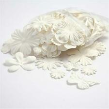 White Mulberry Paper Flowers & Butterflies - Craft Embellishments (set of 20)