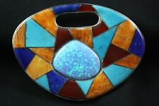 Sajen Inlaid Turquoise,Lapis,Spiny Oyster,Carnelian Sterling Silver .925 Pendant