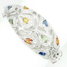 SUMPTUOUS PEAR 6x4mm FANCY COLORS SAPPHIRE & WHITE CZ STERLING 925 SILVER BANGLE