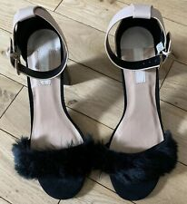 NEW - Dorothy Perkins Nude & Black Block Heels, Sz 7, Faux Fur Toe, Ankle Strap