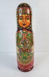 Vintage Russian Girl Wood Wine Vodka Bottle Holder Signed 3D Hand Painted