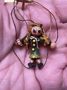 Vintage Artisan C HOLLIS Folk Art Marionette Puppet Dollhouse Miniature 1:12