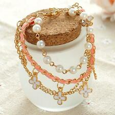 Accessories Fashion Women Multilayer Four Leaf Clover Pearl Pearl Bracelet