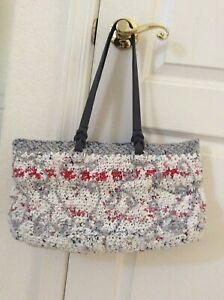 "Handmade Eco Friendly Shopping Bag 9x16"" Crocheted Recycled Plastic Bag"