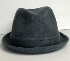 Yellow 108 Mens Size Large Fedora Tribley Hat Gray Pinstripe Band Lined Hemp