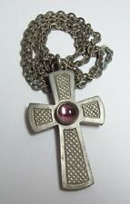 Vintage JORGEN JENSEN Pewter CROSS Necklace