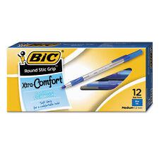 Bic Xtra-Comfort Round Stic Grip Ballpoint Stick Pens Blue Ink, Medium, 12 Pack