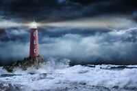 A1 | Stormy Lighthouse Poster Art Print 60 x 90cm 180gsm Weather Sea Gift #12312