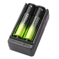 2pcs 5800mAh Li-ion 3.7V 18650 Rechargeable Battery + Dual Charger USA Stock