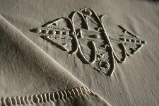 Long drap ancien, toile métis ,N°494 grand monogramme GL,  302  x 187cm. Jours
