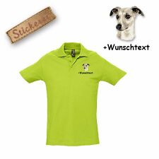 Camiseta Polo Algodón Bordado Whippet + Texto personalizado