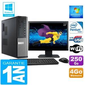 """PC DELL 7010 DT Intel G840 Ram 4Go Disque 250 Go Wifi W7 Ecran 22"""""""