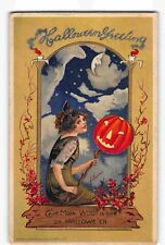 ST2228c:  BEAUTIFUL GIRL & THE MOON WITCH ON HALLOWEEN, Great C1912 Emb postcard