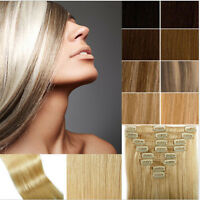 """7 Pcs 15"""" 18"""" 20"""" 100% Remy Real Human Hair Premium Clip in Extensions Full Head"""