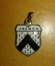 French Coat of Arms / Family Crest Silver Plated Enamel Charm