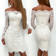 IT- Women Sexy Off Shoulder Lace Long Sleeve Bodycon Party Cocktail Mini Dress N