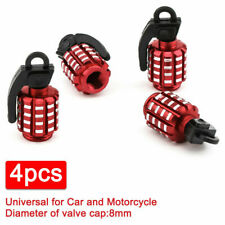 4x Red Aluminum Wheel Rim Tyre Valve Stem Caps Grenade Style For Freightliner