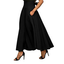 Women High Waist Flared Pleated Long Dress Gypsy Maxi Skirt Full Length S-2XL