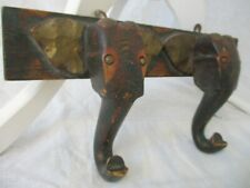 Boho Bohemian Home Decor Elephant African Wooden Coat Hanger Wall Art Deco