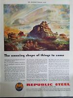 1942 Republic Steel World War II era military tank vintage ad