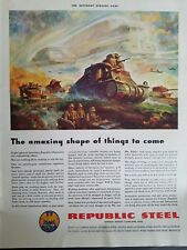 1942 Republic Steel World War II era military tank vintage ad