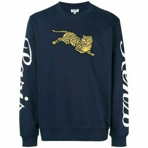 KENZO Sweatshirt Navy Jumping Tiger Embroidered Logo Cotton Kenzo Paris Print