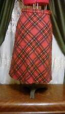 Vintage Red Stewart Tartan Plaid Wool Skirt Sz 14