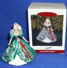 Hallmark Collector's Series Ornament Holiday Barbie #3 1995 Green Sparkly Gown