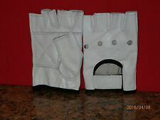 WHITE WITH BLACK TRIM LEATHER FINGERLESS GLOVES - SIZE LARGE