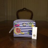 NWT Tory Burch Brigitte Striped Nylon Cosmetics Bag in Fruit Stripe