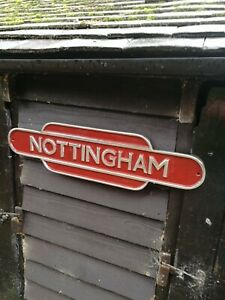 NOTTINGHAM sign totem British Rail train railway BR rail way Midlands VAC238