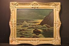 """Frank Ferruzza, """" North Shore Rocks At Night """" oil on masonite, ca. 1950"""