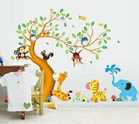 Wandtattoo Wandsticker  Bunt Tiere Affe Baum Spielzimmer Kinderzimmer Baby 124