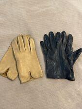 Vintage Leather Ladies Gloves Sz. 7 Tan And Black.