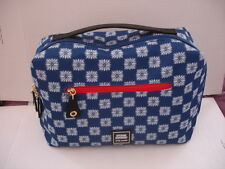 Estee Lauder X-Large Blue Print Zipper Travel Case Cosmetic Bag 12 x 7 in Canvas