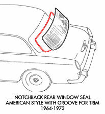 New VW Type 3 Notchback Cal-Look Style 4-Piece Window Rubber Kit 1961-1973