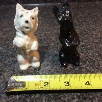 Rare Vtg White & Black Scottie Scottish Terrier Dogs Salt & Pepper Shakers Japan