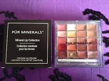 PUR MINERALS - HUGE Mineral Lip Collection Palette-20 Lip Glosses w/ Lip Brush