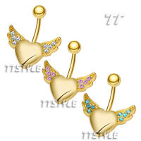 TTStyle 14K Gold GP Crystal Angel Wing Heart Belly Bar Ring 3 Colors