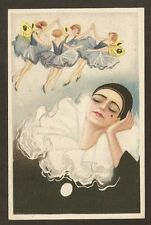 POSTCARD:  PIERROT DREAMING OF FAIRIES - UNSIGNED S. CHIOSTRI - SERIES 304