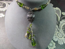 """Ethnic Green Glass Natural Citrine Bead Pendant 18"""" Necklace Fashion Jewelry"""