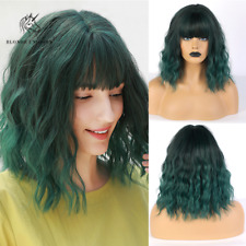 Fashion Green Short Curly Hair Wigs with bangs for Women Party Cosplay Synthetic